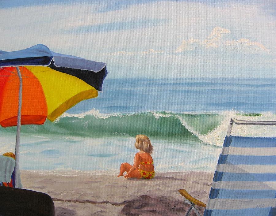 Seascape Painting - Beach Scene - Childhood by Lea Novak