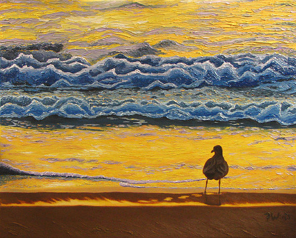 Beach Painting - Beach Seagull by Frank Wuts