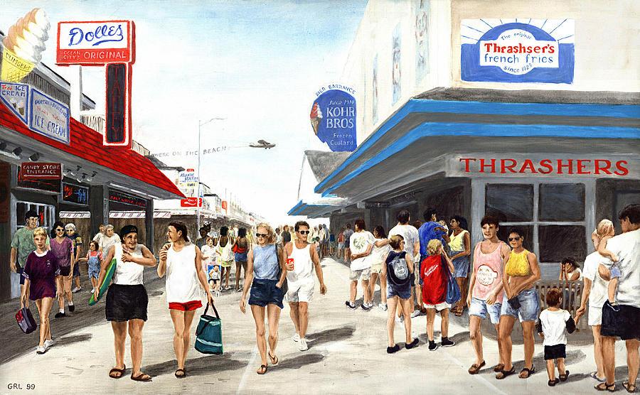 Original Painting - Beach/shore I Boardwalk Ocean City Md - Original Fine Art Painting by G Linsenmayer