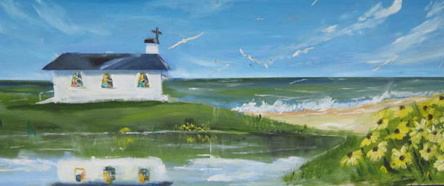 Large Scale Landscape Painting - Beach Side Church by Terrence  Howell