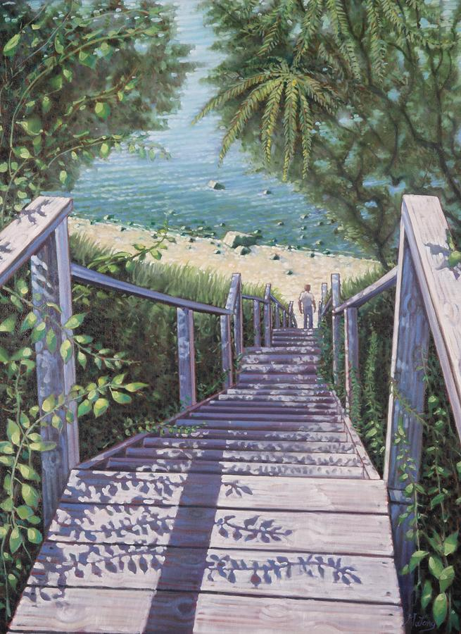 Beach Stairs Painting by Gary M Long