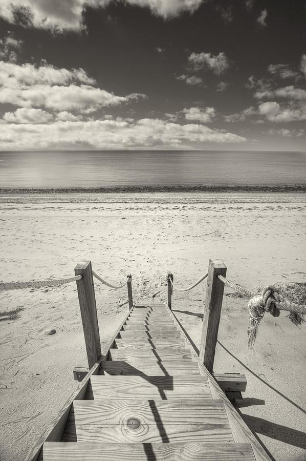 Black And White Photography Photograph - Beach Stairs Wellfleet by Dapixara Art