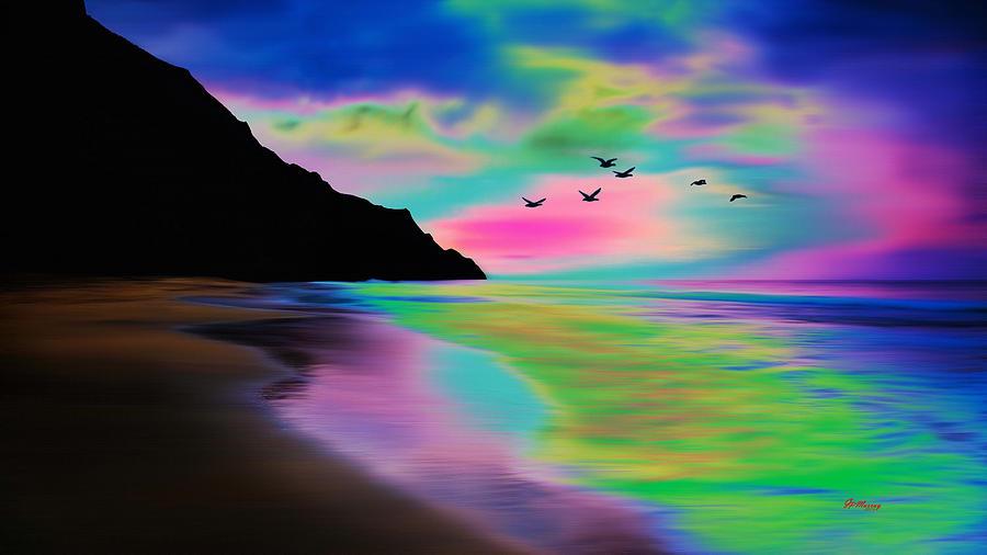 Water Digital Art - Beach Sunset by Gregory Murray
