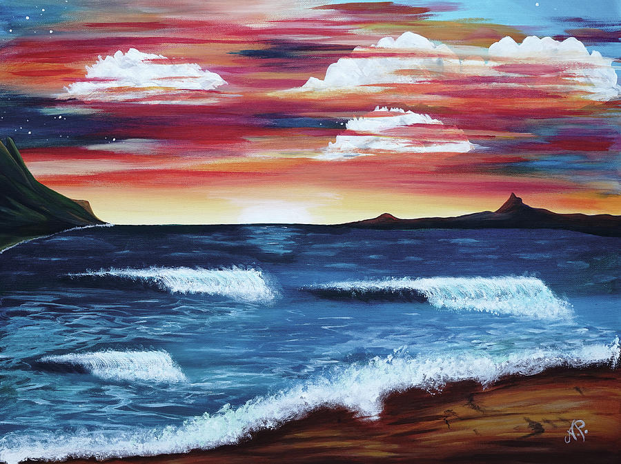 Nature Painting - Beach Sunset by Nicole Paquette