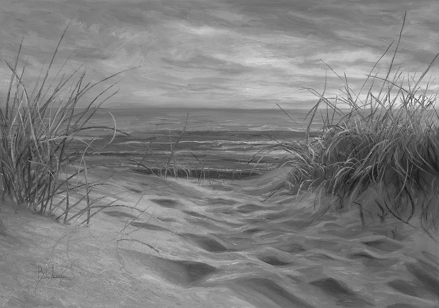 Beach Painting - Beach Time Serenade - Black and White by Lucie Bilodeau