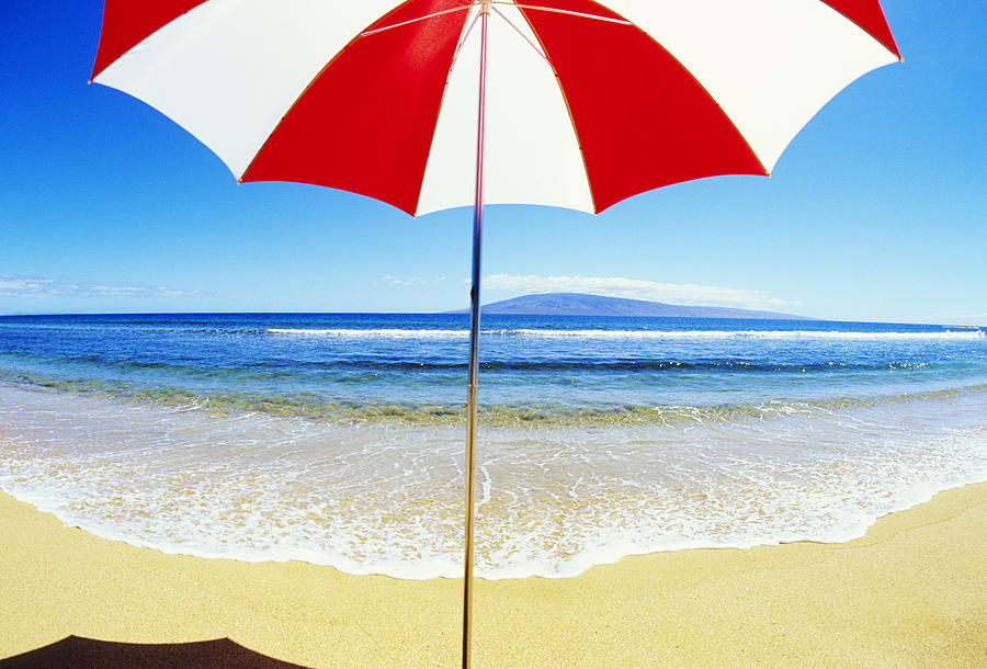 Afternoon Photograph - Beach Umbrella by Carl Shaneff - Printscapes
