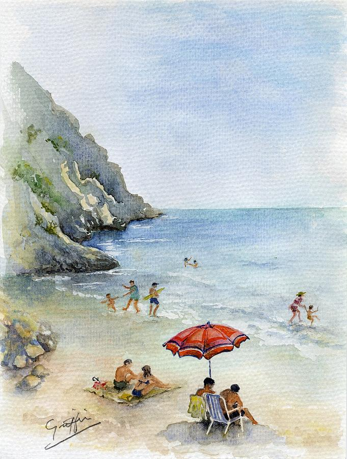 Spain Painting - Beach Umbrella by Mai Griffin