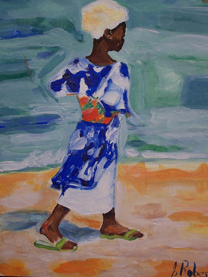 Beach Walk 2 Painting by Sharon  Roberts