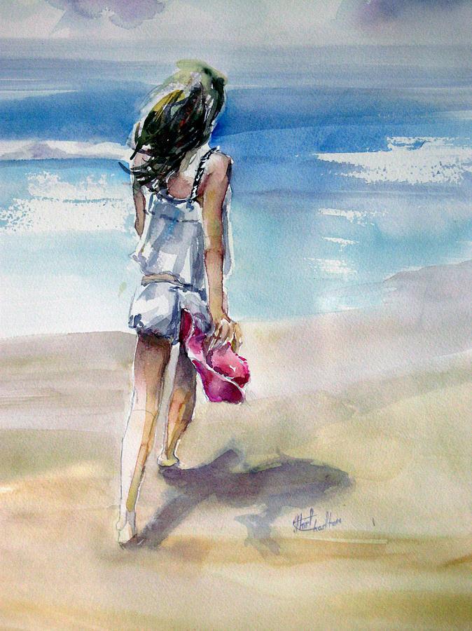 Figure Painting - Beach Walk by Shirley Roma Charlton