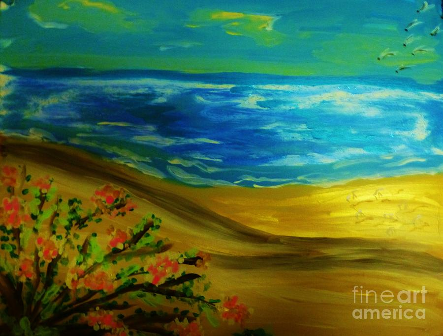 Seascape Painting - Beach With Flowers by Marie Bulger