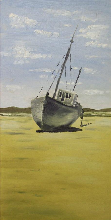 Boat Painting - Beached At Bunbeg by Alan Hogan