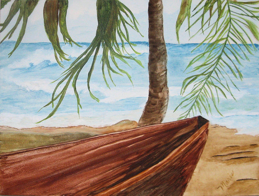 Landscape Painting - Beached Boat by Maris Sherwood