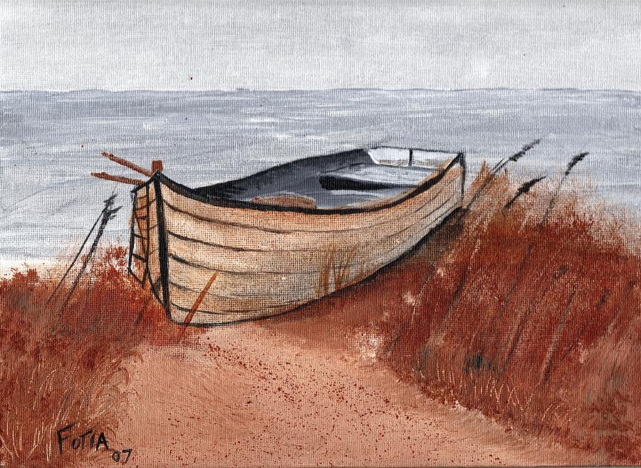 Seascape Painting - Beached Boat by Rich Fotia