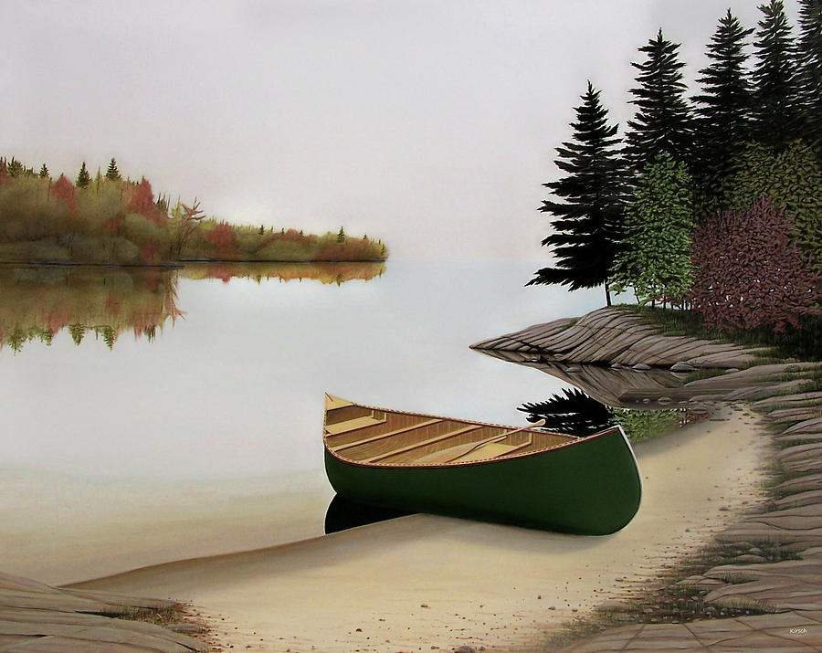 Canoes Painting - Beached Canoe In Muskoka by Kenneth M  Kirsch