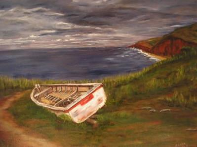 Boat Painting - Beached by Clara  Bierman