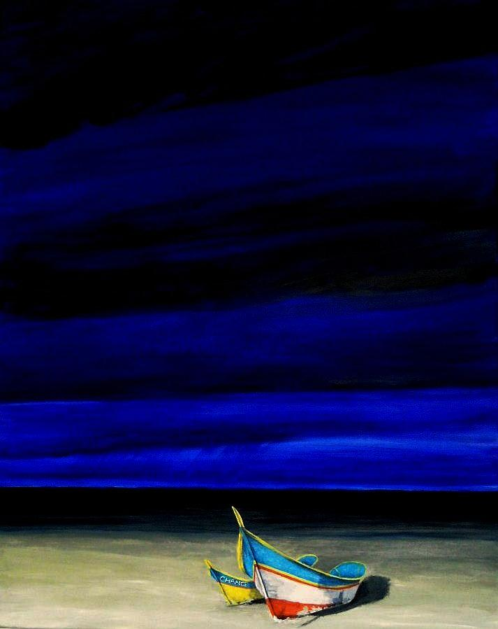 Boat Painting - Beached by Edith Peterson