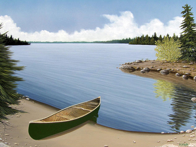 Canoe Painting - Beached In Ontario by Kenneth M  Kirsch