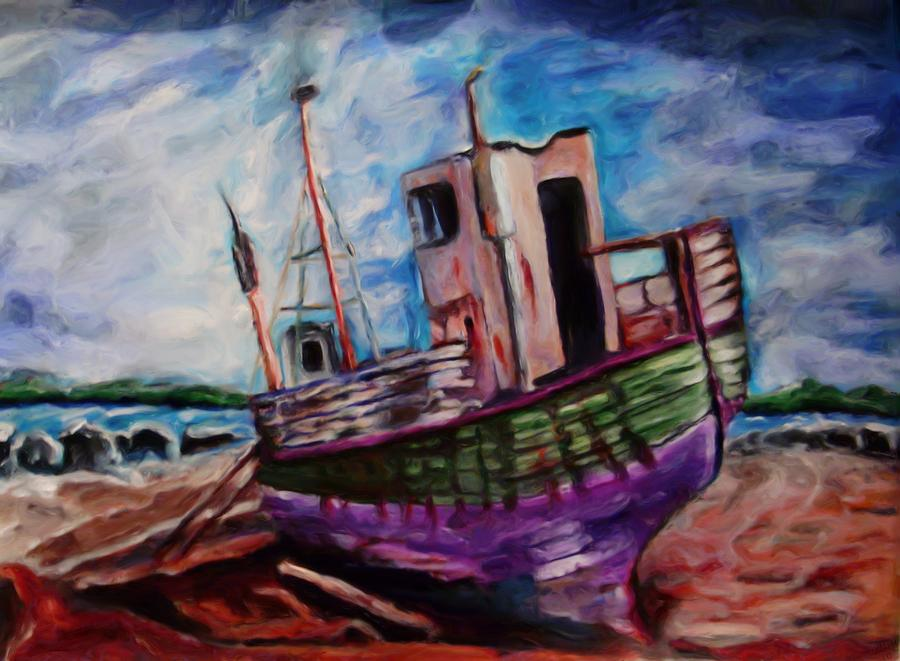 Boat Painting - Beached by Shelley Bain