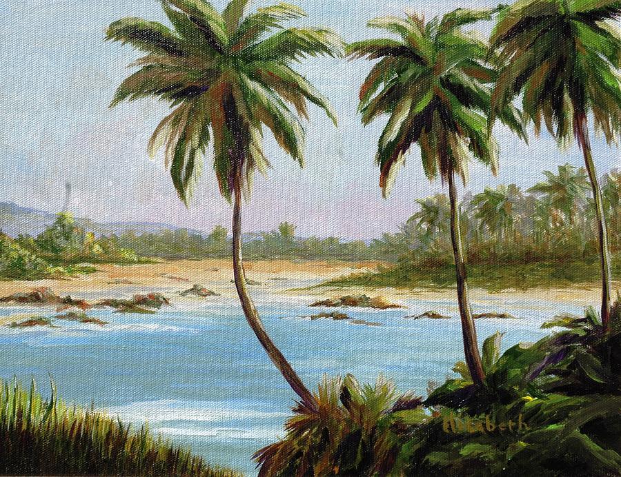 Beach Painting - Beachfont Palms by Beth Maddox