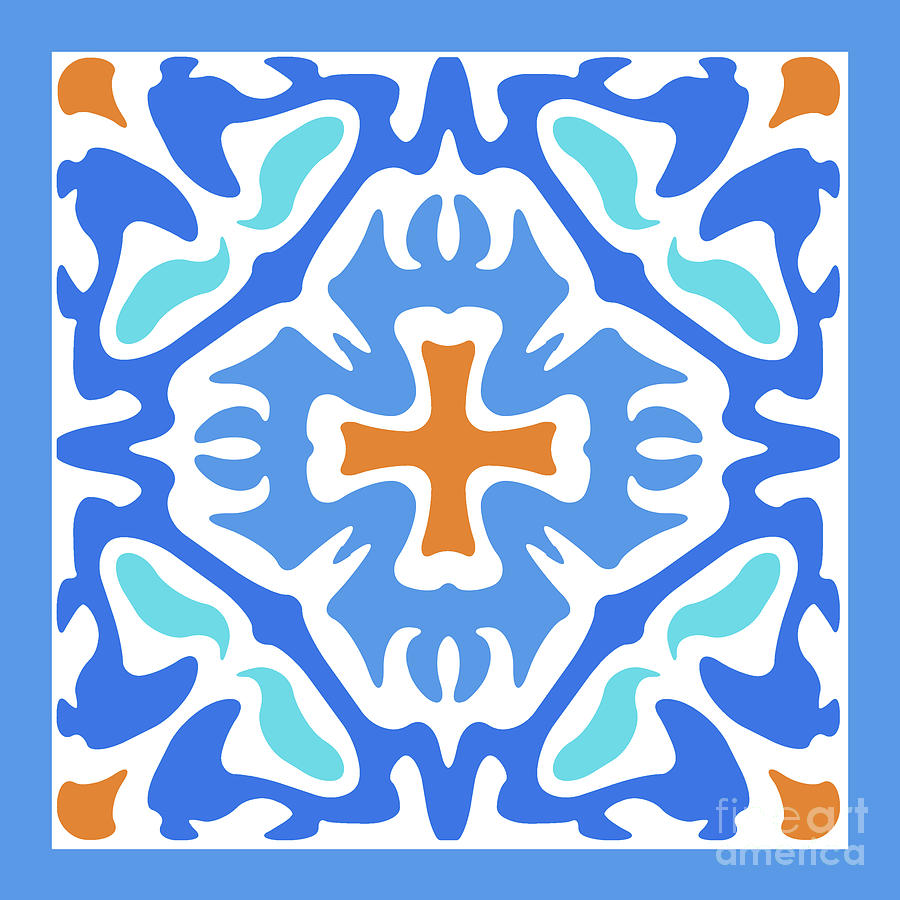 Beachy Blue Abstract with Orange Accent by Melissa A Benson