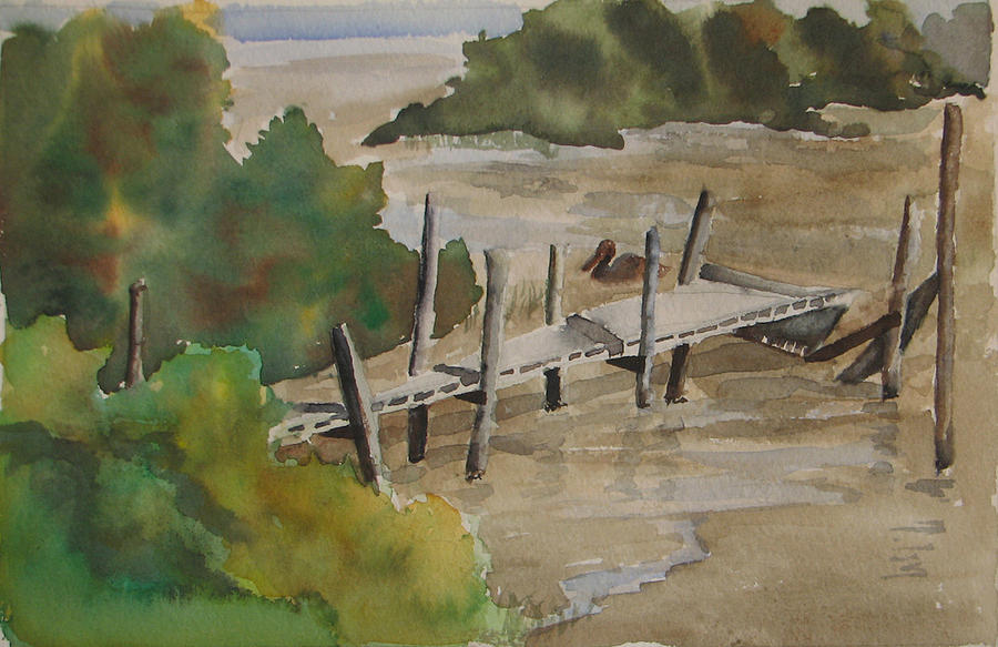 Dock Painting - Beacon Dock by Libby  Cagle