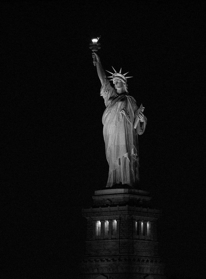 Statue Of Liberty Photograph - Beacon in the Night by Frank Mari