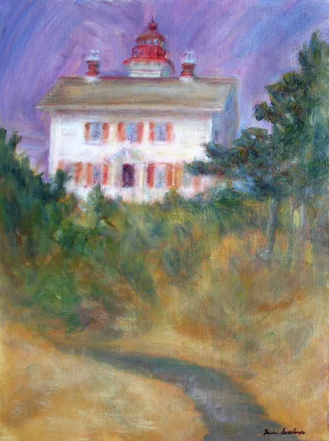 Lighthouse Painting - Beacon On The Hill - Lighthouse Painting by Quin Sweetman