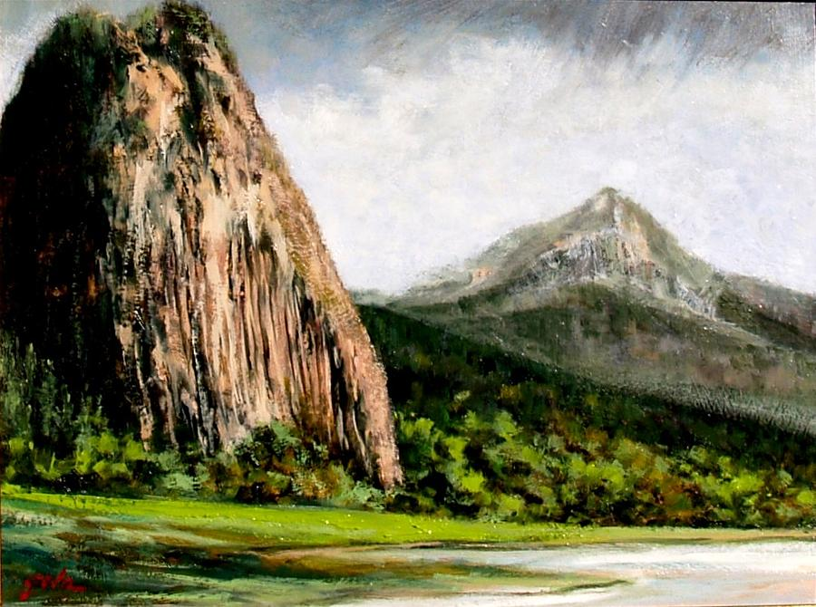 Landscape Painting - Beacon Rock Washington by Jim Gola