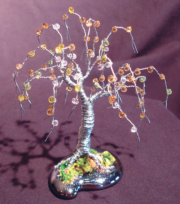 Sculpture Sculpture - Beaded Willow - Wire Tree Sculpture by Sal Villano