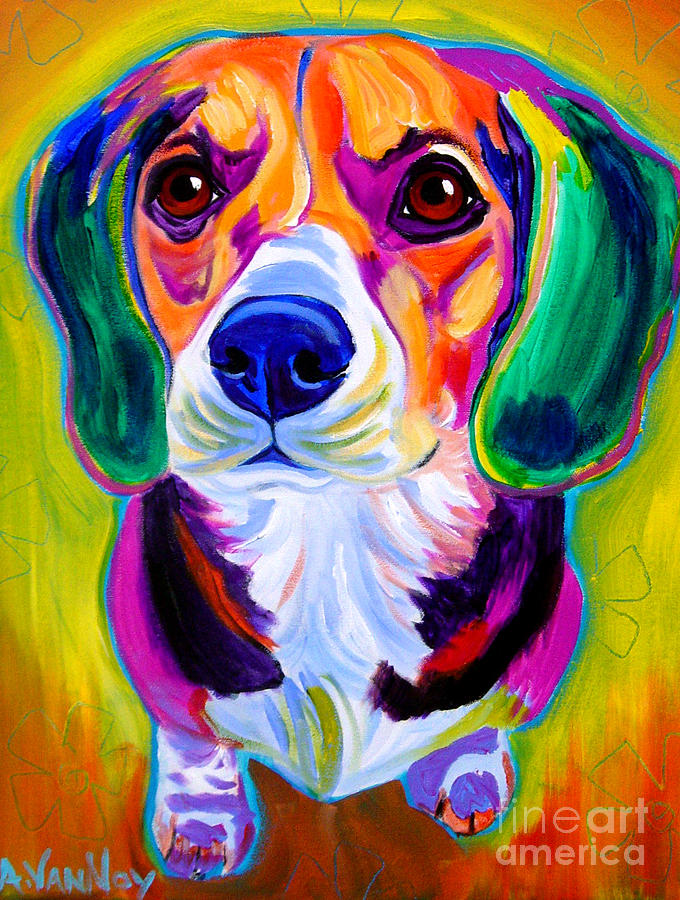 Beagle Painting - Beagle - Molly by Dawg Painter