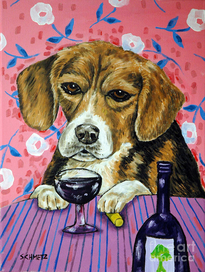 Beagle Painting - beagle at the Wine Bar by Jay  Schmetz