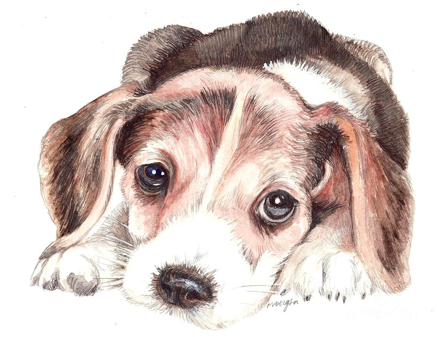Beagle Painting - Beagle Puppy by Morgan Fitzsimons