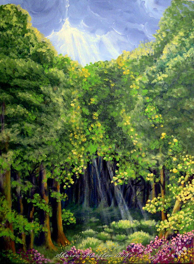Forest Painting - Beaming In by Sharon Marcella Marston