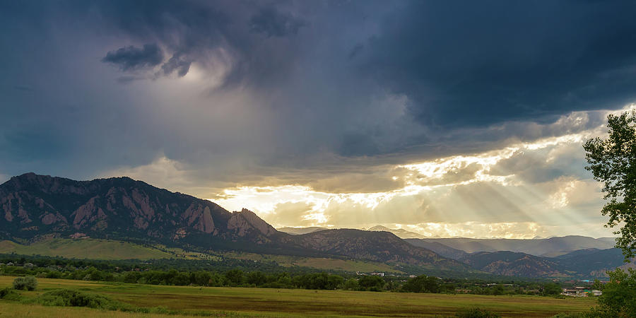 Panorama Photograph - Beams Of Sunlight On Boulder Colorado Foothills by James BO Insogna