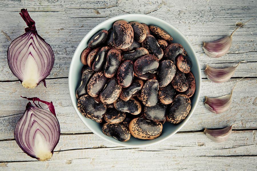 Beans Photograph - Beans, Garlic and Onion by Nailia Schwarz