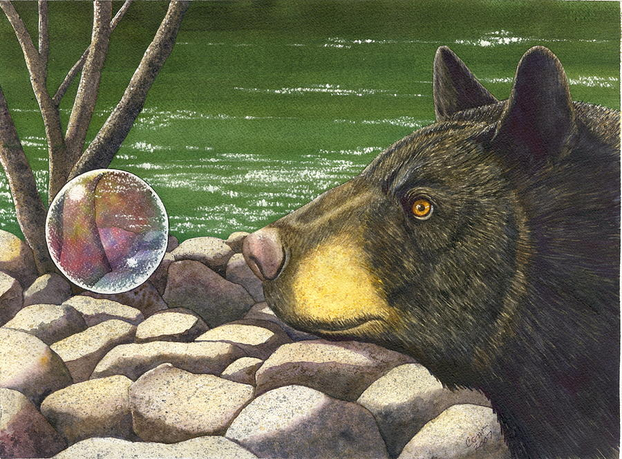 Black Bear Painting - Bear bubble by Catherine G McElroy