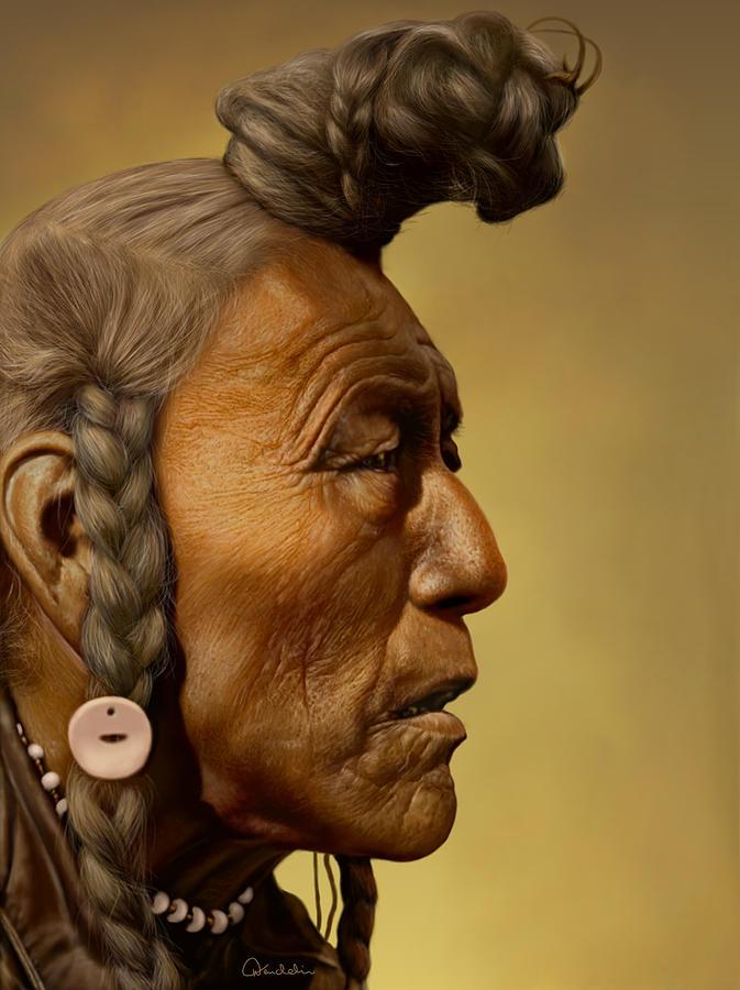 Portrait Digital Art - Bear Bull - Blackfoot by Helmut Weininger
