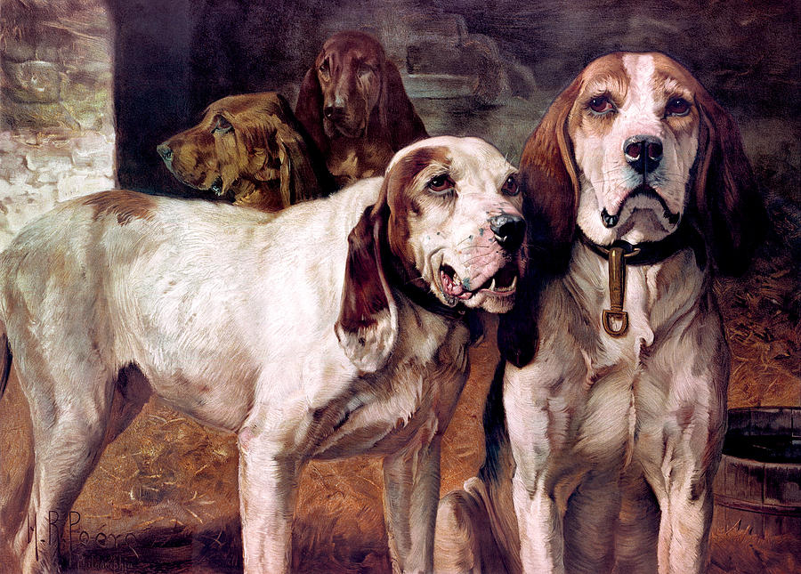 Dogs Painting - Bear Dogs Without Border by H R Poore