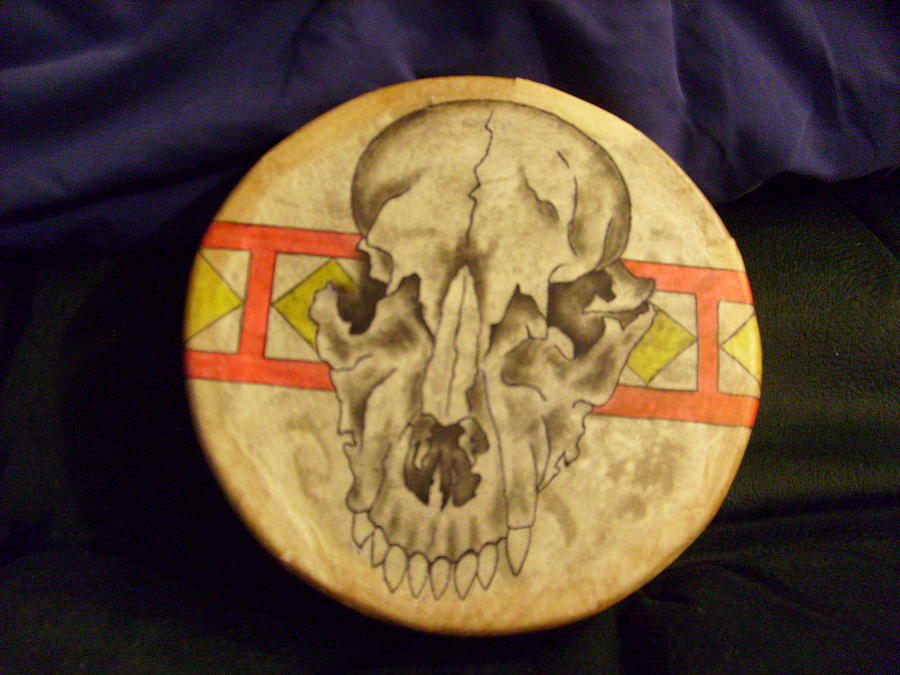 Drum Painting - Bear Drum by Angelina Benson