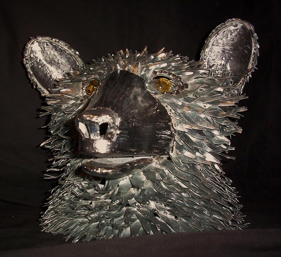 Bear Mixed Media - Bear Head Bust by Jeff Orebaugh