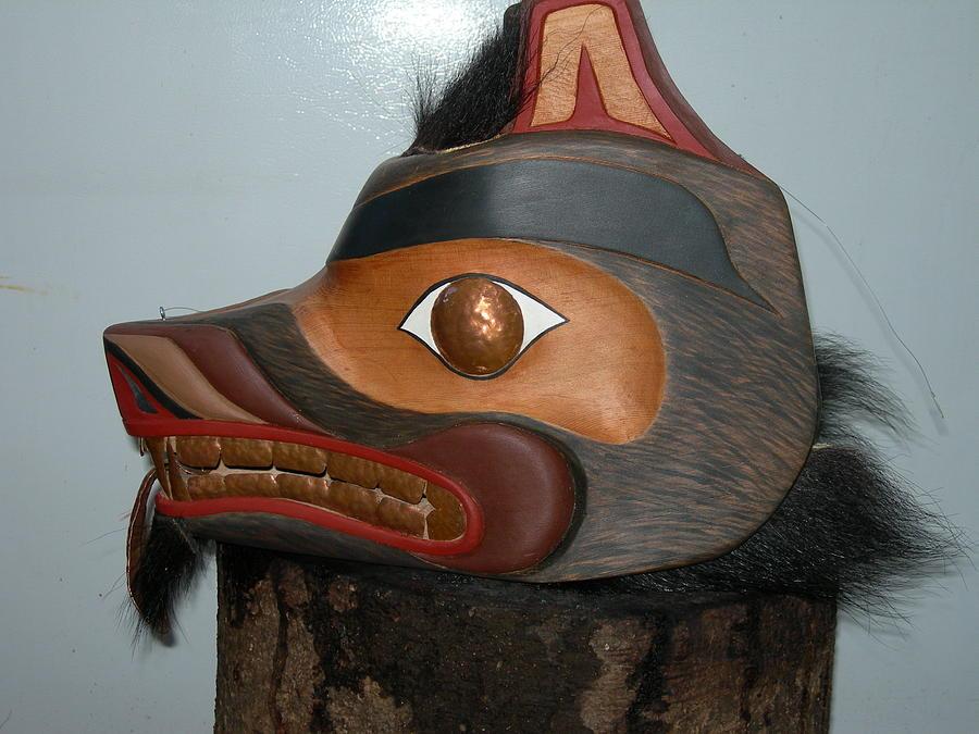 Carved Masks Sculpture - Bear Headress by Shane  Tweten