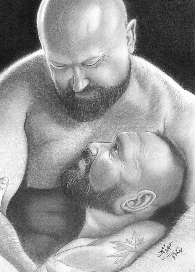 Men Drawing - Bear Love 4 by Brent  Marr