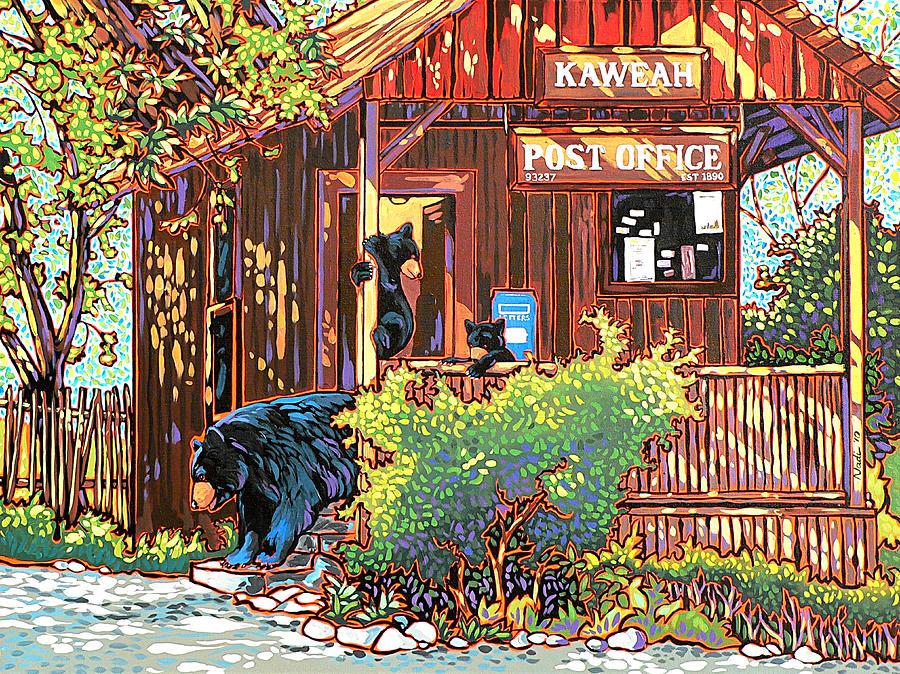 Bear Painting - Bear Post by Nadi Spencer