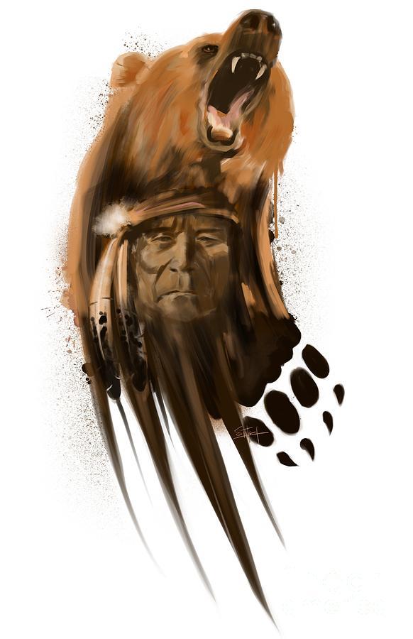 Black Bear Painting - Bear Spirit  by Sassan Filsoof
