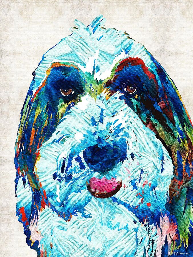 Dog Painting - Bearded Collie Art - Dog Portrait by Sharon Cummings by Sharon Cummings