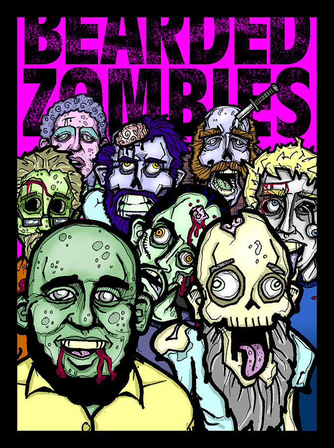 Zombies Drawing - Bearded Zombies Group Photo by Christopher Capozzi