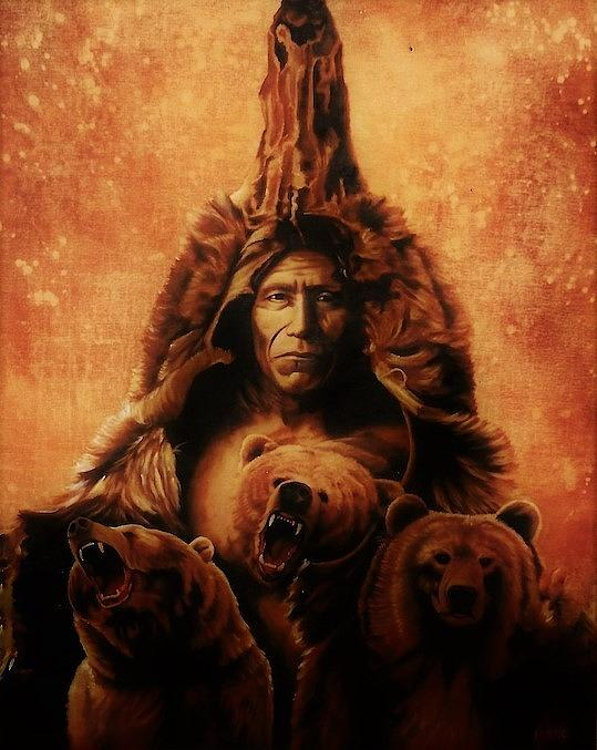 American History Painting - Bears Belly by DC Houle