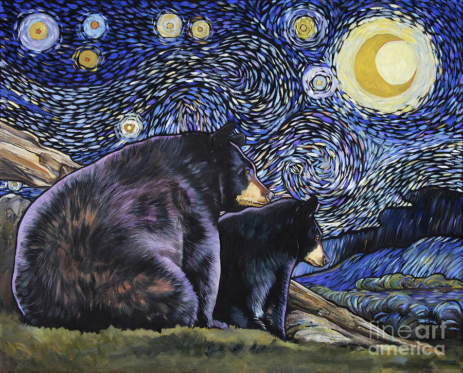 Bear Painting - Beary Starry Nights Too by J W Baker