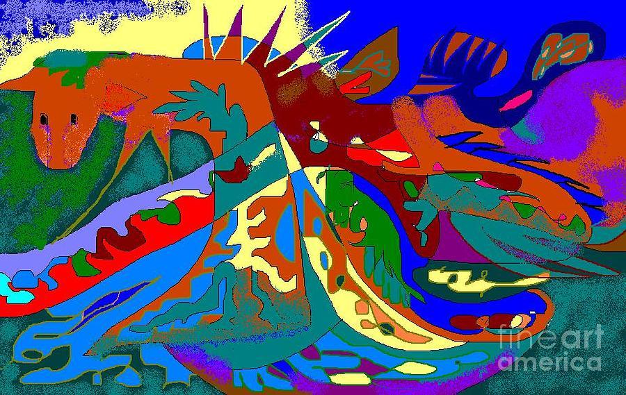 Card Digital Art - Beast In Colorful Coat by Beebe  Barksdale-Bruner