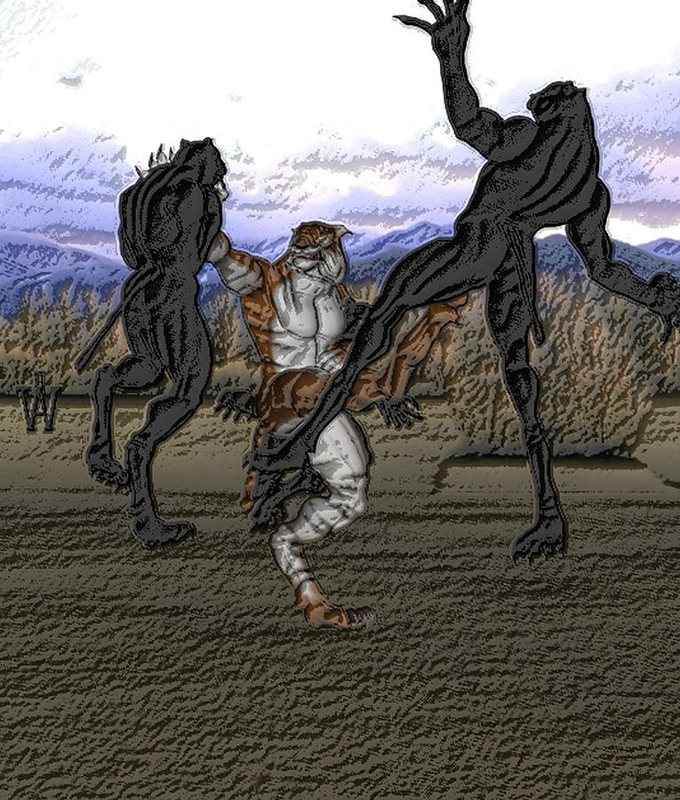 Life Mixed Media - Beastcat Vs Panthermen by Will Davis